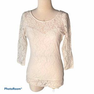 GUESS Cream Lace Scoop Neck Shirt